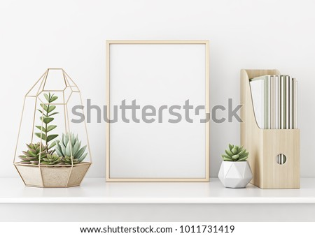 Home interior poster mock up with vertical gold metal frame and succulents on white wall background. 3D rendering.