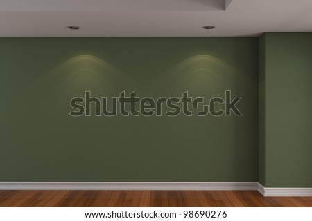 Home Interior Rendering With Empty Room Dark Green Color Wall And ...