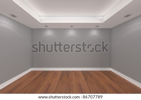Home interior rendering with empty room gray wall and decorated with ...