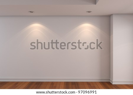 Home interior rendering with empty room white color wall and decorated with wooden floors.