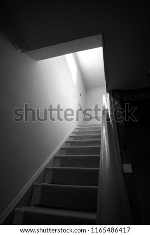 Home interior staircase looking upwards #1165486417