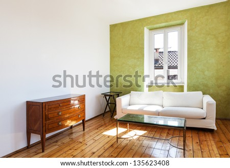 home interior view white sofa and window
