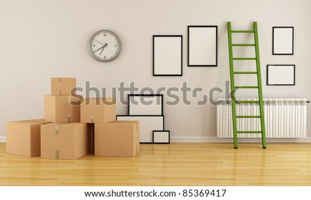 home interior with cardboard boxes ladder and empty frame-rendering - stock photo