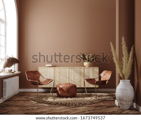 Home interior with ethnic boho decoration, living room in brown warm color, 3d render Photo stock ©