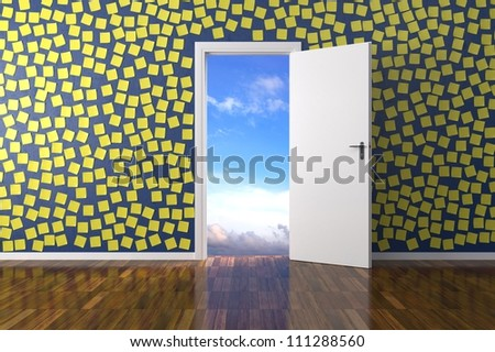 Home interior with post it on wall