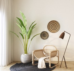 home interior with rattan armchair ,green plant , floor lamp,black carpet , cream color  fabric and rattan wall decorate,cozy home decorate.