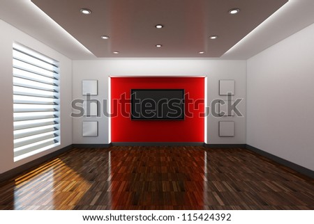 Home interior with red background - High quality render