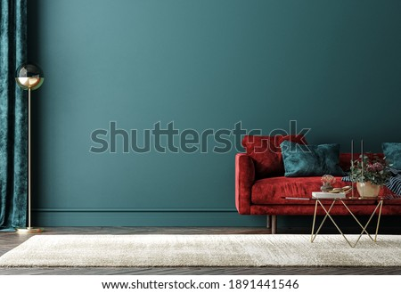 Home interior with red sofa, table and decor in green living room, 3d render