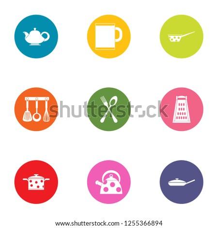 Home kitchen set icons set. Flat set of 9 home kitchen set icons for web isolated on white background