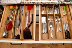 Home kitchen utensil drawer organization for simple easy living