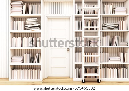 Home library interior with bookshelves by the sides of a door and a ladder to gain access to the books on high shelves. 3d rendering.  #573461332