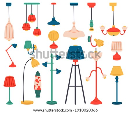 Home light. Interior lamps, ceiling lamps, pendant, reading lamp, spotlight and floor lamp. Indoor lighting  illustration set. Electric lamp home, indoor chandelier contemporary