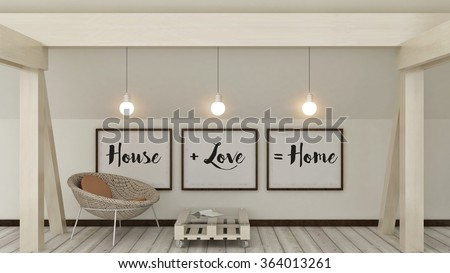 Home, love, family  and happiness concept. Posters in frame Scandinavian style home interior decoration. 3D render