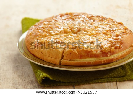 home made almond cake with butter cream