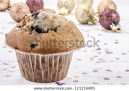 home made blueberry muffin with christmas decoration
