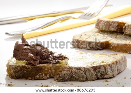 home made bread spread with nougat cream