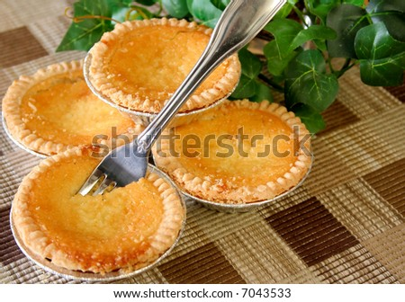 Home made coconut custard tarts with a fork on a place mat.