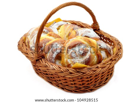 Home made croissants in a basket