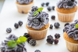 Home made cupcakes with the frozen blackberry