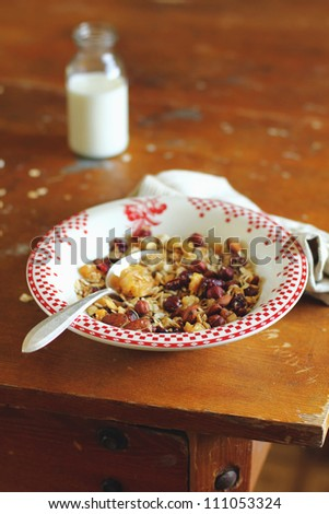 Home made granola with dried fruits and nuts in plate