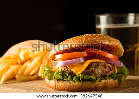 home made hamburger with beef ...