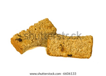 Home-made health rusks with raisins on a white background