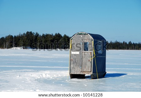 Fishing Shanty on Home Made Ice Fishing Shack On A Frozen Lake  Stock Photo 10141228