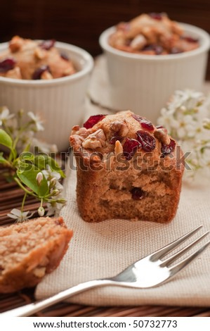Home made muffins with wild cherries and walnunts