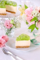 Home made non-baked cheese cake with fresh white grape. Summer or autumn refreshing dessert.