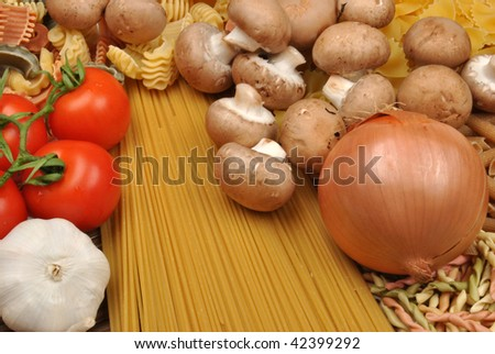 home made noodle and organic chestnut mushroom - stock photo