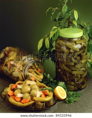 home made pickles - stock photo