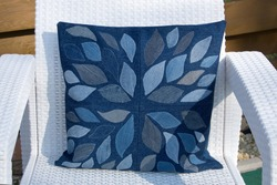Home made recycled jeans pillow