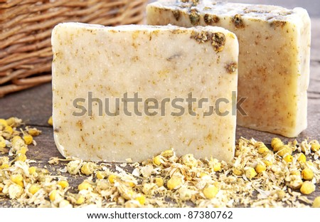 Home-made soap with chamomile