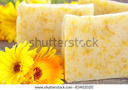 Home-made soap with marigold (Calendula officinalis)
