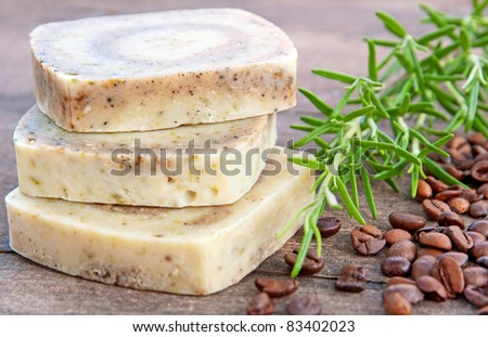 Home-made soap with rosemary and coffee