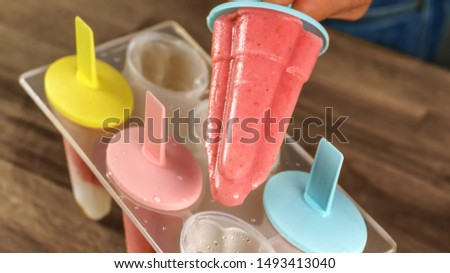 home made strawberry popsicles, lollies ice cream