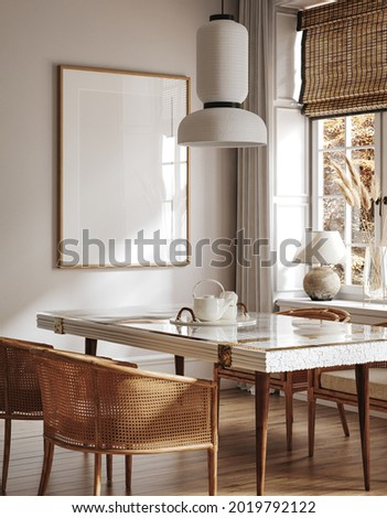 Home mock up, cozy modern kitchen interior background, 3d render