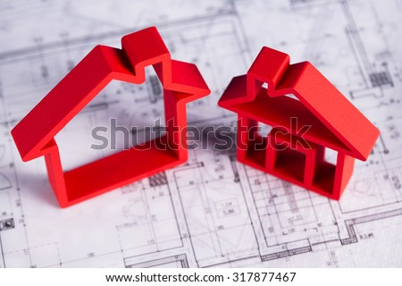 Home model with blueprint drawing
