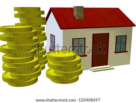 HOME, MONEY, BUSINNESS REAL ESTATE - 3D