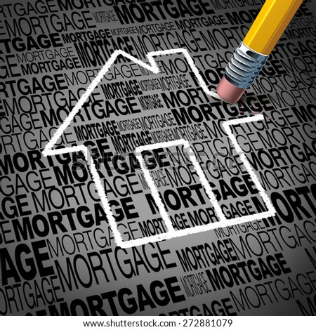 Home mortgage concept and real estate house ownership success symbol as a pencil erasing the shape of a family residence as a metaphor for paying off residential debt and financing a household.