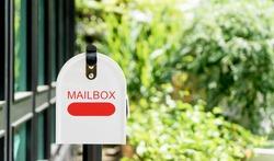 Home office red Metal Mailbox in garden