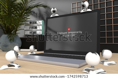 Home office, working from home having online video conference, have a break, monitoring employee performance, 3d rendered laptop with web cameras watching unavailable sign on the screen