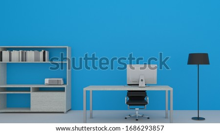 Home office workplace mess concept with laptop mockup and other objects  . 3D Rendering.Work from home concept. set of isometric interior working rooms of the house. Stock foto ©