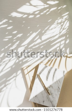 Home office workspace background with notebook on white background with plant shadow. Flat lay, top view minimal lady boss lifestyle concept. #1501276778
