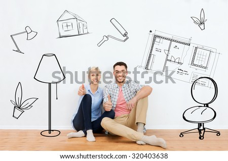 home, people, repair, moving and real estate concept - happy couple sitting on floor and showing thumbs up at new place over interior doodles background #320403638