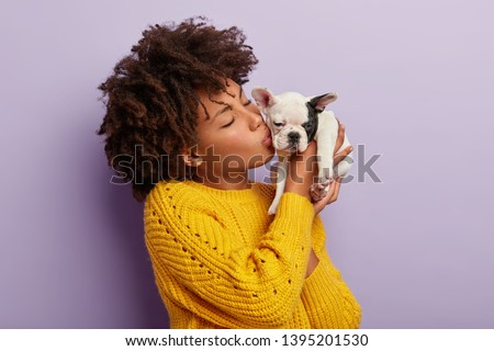 Home pets concept. Beautiful female mistress of pedigree dog kisses it with love, cares about animal, has cheerful mood, chills with bulldog, wears yellow jumper, models over purple background. #1395201530