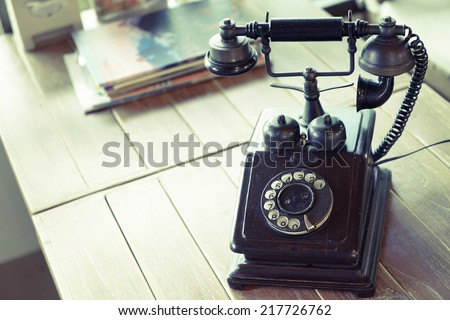 home phone retro style put on the wooden table