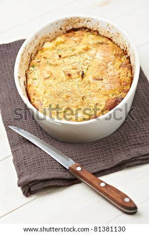 home pie with pepper onion, cheese and potatoes