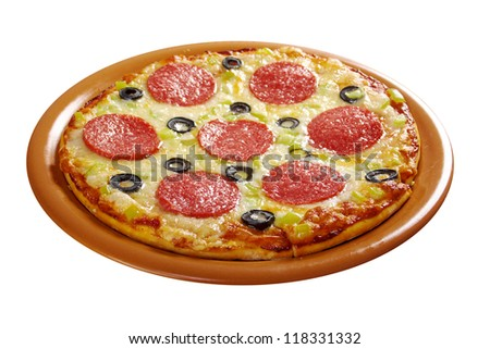home pizza  Pepperoni.Closeup .isolated on white background.