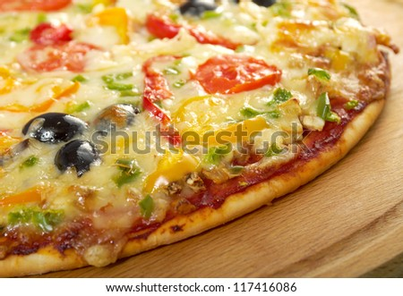 home pizza with tomato and eggplant  Closeup - stock photo